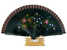 Chinese Hand Held Fan, Spanish Style, Hand Painted Pattern on Black Ribs