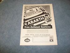 "1966 Abarth Exhaust Systems Vintage Ad ""For More Go!"""