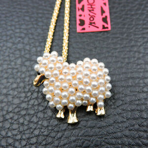 Exquisite Gold Enamel Cute Pearl Sheep Pendant Betsey Johnson Necklace/Brooch