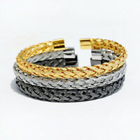 Men's Luxury Stainless Steel Wire Braided Open Cuff Charm Wristband Bangle
