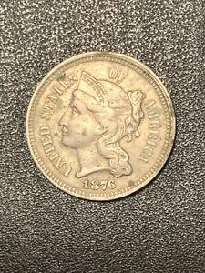 1876 Philadelphia Mint nickel three-cent  lot # 767