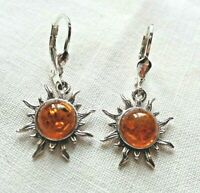 Sterling Silver and Baltic Amber Shining Sun Earrings Taurus Birthstone