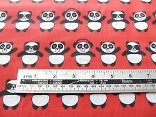 RED,  PANDA BEAR, HEADPHONES DESIGN POLY COTTON FABRIC BY THE METRE - FREE POST