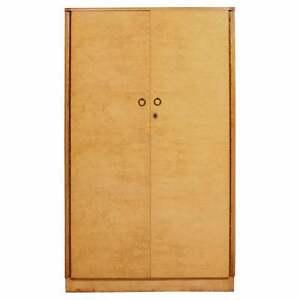 Wardrobe Birdseye Maple Art Deco Gents Compactum Armoire Vintage