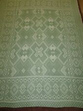 Vintage 50`s 60`s 100% thick cotton cloth single bedspread throw green white