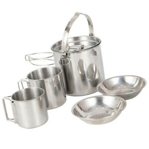 1 Set Camping Cookware Hiking Kettle Picnic Cookware Stainless Steel Cup Bowl