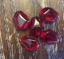 Vintage Crimson Red Watercolor Fancy Freeform Deco Art Old Glass Bead Lot