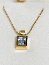H. STERN Aquamarine 18k 750 Yellow Gold Pendant Necklace Original Box Authentic