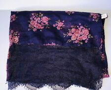 """Purple Pink Floral Lace Edge Rectangle Scarf Shawl Wrap 29 X 80"""" C Brand"""