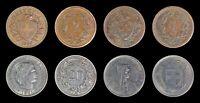 (4) Switzerland 1881 20 rap, 1936 2 rap, 1872 1 rap, 1968 5 Francs, Rappen, Coin