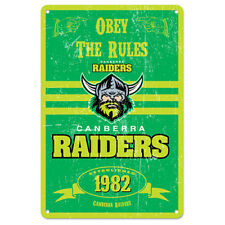 Canberra Raiders NRL Retro Tin Wall Sign Obey The Rules Man Cave Bar Gift