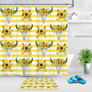 "Sunflowers Deer Skulls Yellow Stripes Waterproof Fabric Shower Curtain Set 72"""