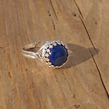 Lapis Lazuli Gemstone Rock Ring Sterling Silver Adjustable Gift Boxed