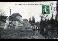 CHATILLON-sur-SEINE (21) PECHEUR à la ligne au MOULIN à eau de MARMONT en 1913