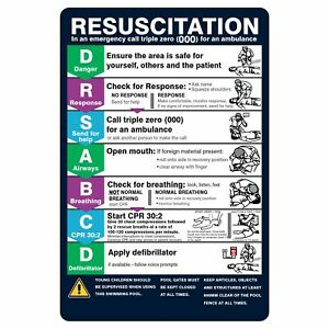 Pool Safety Signs -  POOL RESUSCITATION CHART (CPR)