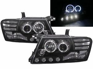 PAJERO NM 2000-2006 LED Angel-Eye Projector HEADLIGHT BLACK for MITSUBISHI LHD