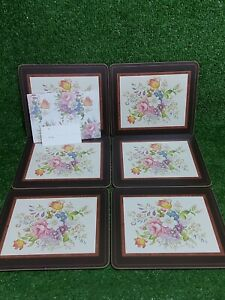 """Vintage Aynsley Cork Backed Placemats """"Howard Sprays"""" BRAND NEW & Boxed Set Of 6"""