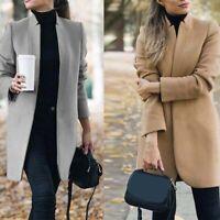 Slim Women Long Jacket Coat Outwear Wool Winter Trench Warm Parka Overcoat Lapel