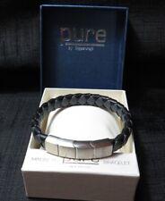 Unisex Pure By Coppercraft - Leather Black & Grey Magnetic Bracelet