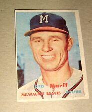 1957 Topps #321 John (Red) Murff Baseball Card, Milwaukee Braves,75-25,Mint