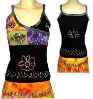 Nepalese 100% Cotton Women's Cross Neck Sleeveless T- Shirts Tops Singlet Vest