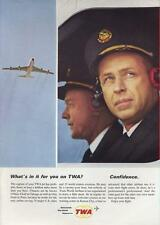 1964 TWA Trans World Airlines PRINT AD depicts pilot and co-pilot
