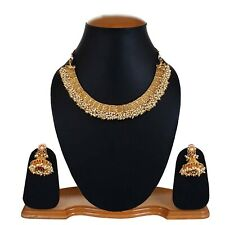 South Indian Traditional Necklace Gold Plated Earrings Jewelry Sets For Women