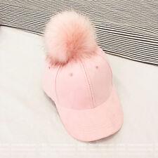 New Fashion Women Faux Fur Fox Pom pom Ball Cap Suede Adjustable Baseball Hat