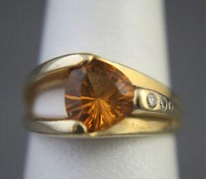 VTG 14K Gold Citrine and 3 Graduated Diamonds Ring Size 6.25 (S-104)
