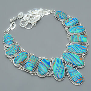 """Rainbow Calsilica 925 Sterling Silver Jewelry Handmade Necklace 17.99"""" S1910"""