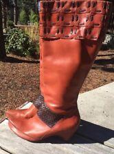 Corso Como Cognac Braided Wedge Heel Two Tone Leather 8.5 Swarovski Artsy Boots