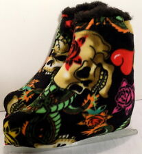 Melvage'S Ice Skate Boot Warmers L7-9 ( Skull & Roses) Handmade Winter Sports