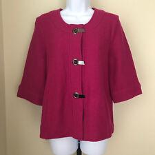 Chico's Women's Wool Jacket Size 1 (Medium) Pink Buckles 3/4 Sleeve