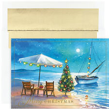 Shoreline Greetings Beach Themed Boxed Holiday Christmas Cards Set of 18