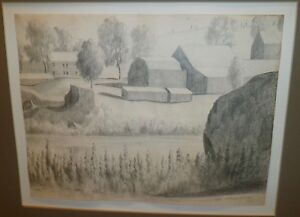 """The Farm"" Pencil Drawing- 1960-Hans Weingaertner-Listed N.J. Artist"