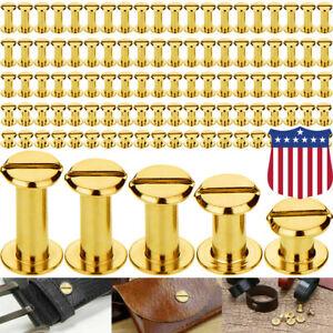 100PCS Chicago Screws Stud Kit Buttons Metal Screw Posts Nail Rivet Leather Gold
