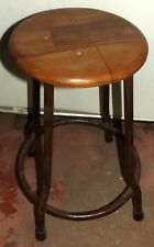 Stool Vintage wooden of teak and iron cm 50h from school seat 29 70's