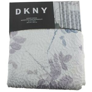"DKNY Watercolor Leaves Shower Curtain 72"" x 72"" Blue Purple Gray Floral"