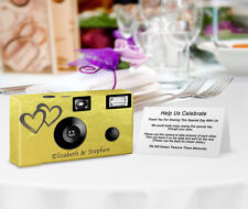 10 Gold Foil Coupled Heart PERSONALIZED Wedding Cameras, disposable cameras