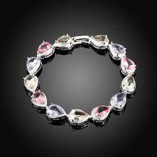 Colorful Crystal Hot Fashion Bracelet Cuff 925 Silver Women Bangle Jewelry Gift