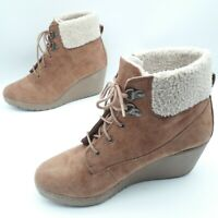 New Look Woman's Ladies Wedge Ankle Boots Tan Suede Sheepskin Trim Lace Up UK 5