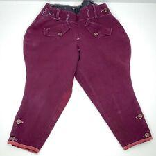 Brown Velvet Button Fly Button Cuff Vintage DKNY Riding Breeches Jodhpurs 4 NOS