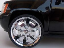 JADA 1/24 SCALE SPINNING WHEELS & TIRES  FITS 2010 LOPRO CHEVY TAHOE # SPN0044*