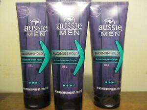 Lot of 3 Aussie Men's Maximum Hold Hair Gel 7 oz