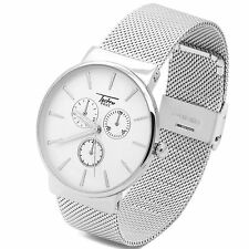 Ultra Slim Mens Silver Mesh Metal Band White Face Water Proof  Quartz  Watch TP
