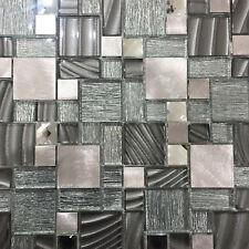 Grey Silver Glass Metal Mosaic San Francisco Tile Sheets Bathroom Kitchen Wall