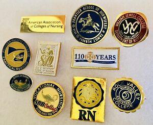 Vintage To Now RN Nurse Nursing College University School Pins (10 Pin Lot) 1 GF