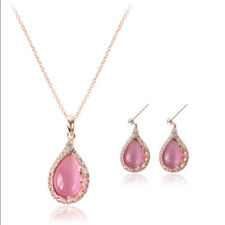 Pink Rhinestone Rose Gold Plated Jewelry Set Drop Earrings Pendant Necklace