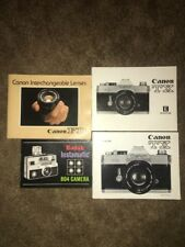 4 Camera Instruction Booklets: Canon TX, FD, Kodak Instamatic 804