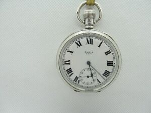 1920 Elgin pocket watch solid silver fantastic condition working + serviced.